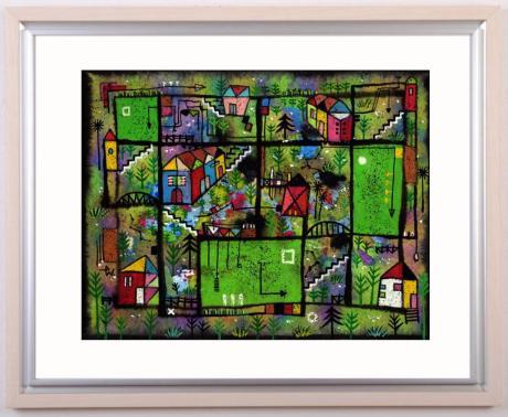 絵画の水彩画で若松愛子が描いた抽象画「春寒の町」...